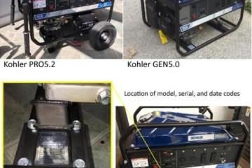 KOHLER POWER SYSTEM PORTABLE GENERATOR RECALL