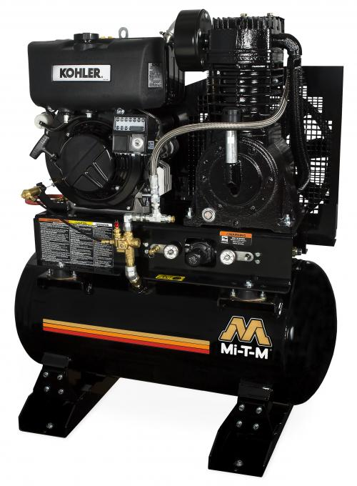 MI-T-M 30-GALLON TWO-STAGE AIR COMPRESSOR FEATURES KOHLER